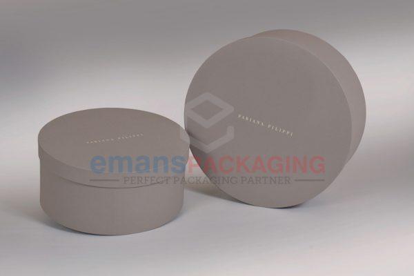 Grey Custom Round Rigid Boxes